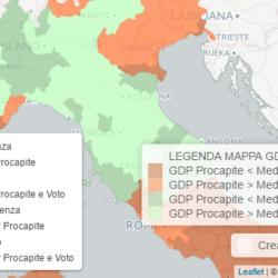 Referendum Costituzionale - Mappa Interattiva BiDiMedia con visualizzazione dell'affluenza e dell'esito referendario a livello provinciale e regionale