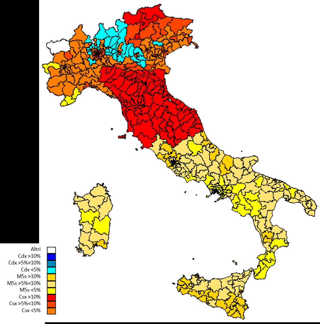 Osservatorio Cise: la mappa dei probabili vincitori del 2017 con il Mattarellum