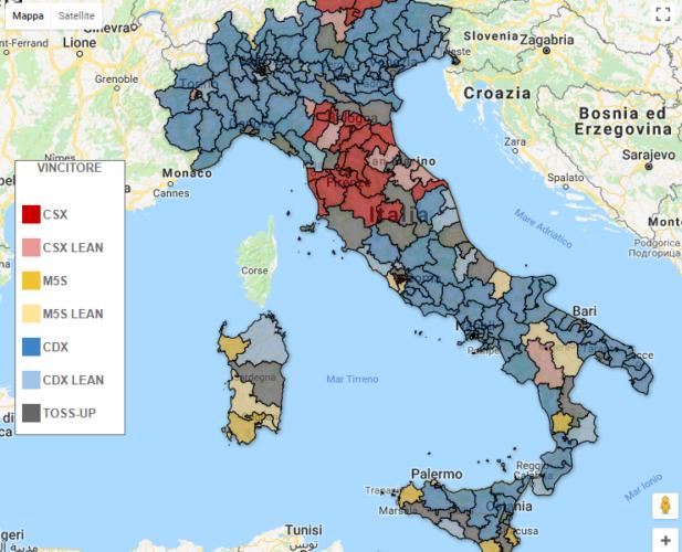 Elezioni Politiche – Proiezione Collegi Bidimedia: le mappe interattive collegio per collegio