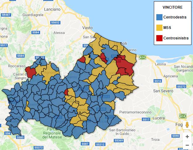 Cartina Molise Politica.Regionali Molise 2018 La Mappa Interattiva Dei Risultati Comune Per Comune Sondaggi Bidimedia