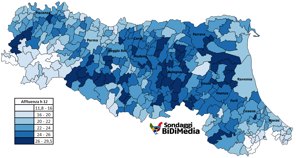 Emilia Romagna Cartina Province.Elezioni Regionali Emilia Romagna E Calabria Analisi Affluenza Ore 12 00 Sondaggi Bidimedia