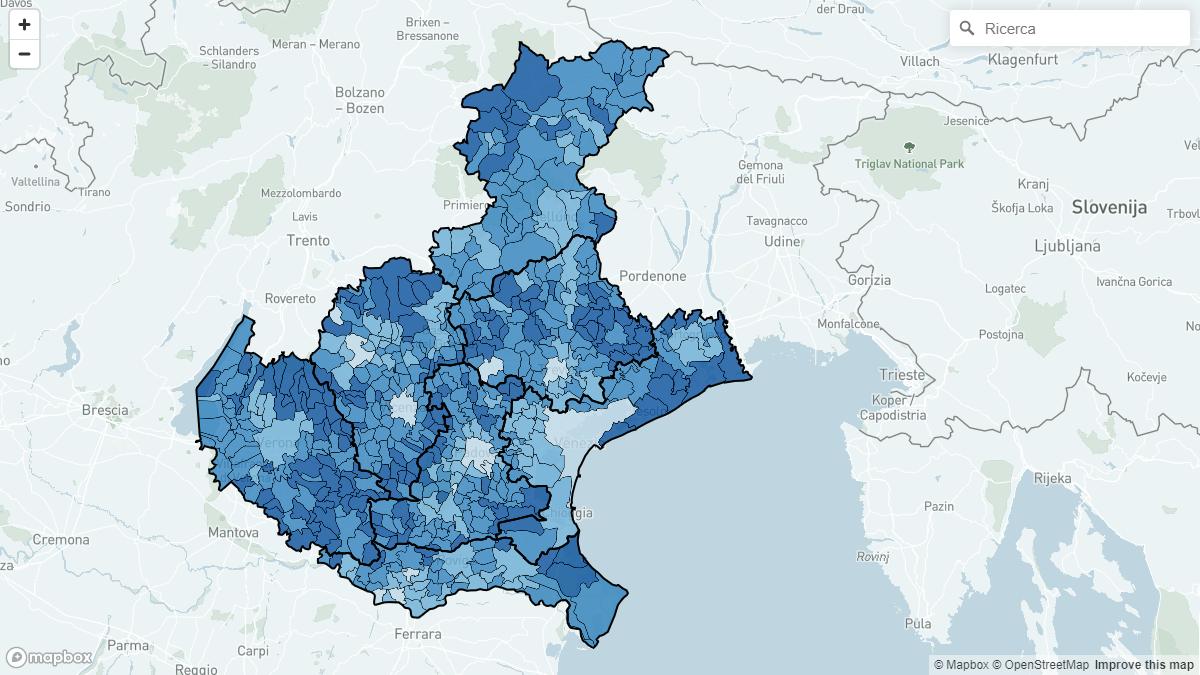 Veneto Regione Cartina.Regionali Veneto 2020 La Mappa Interattiva Bidimedia Con I Risultati Comune Per Comune Sondaggi Bidimedia